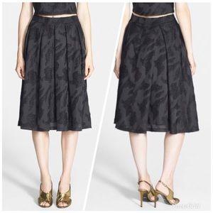 ASTR Metallic Jacquard Pleated Midi Black Skirt